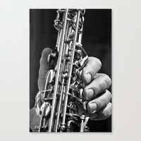 saxophone Canvas Prints featuring Saxophone by ramonaorganfineart