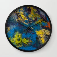 cosmic Wall Clocks featuring Cosmic by yellowbunnies