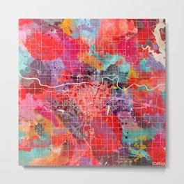 Topeka map Kansas painting 2 Metal Print