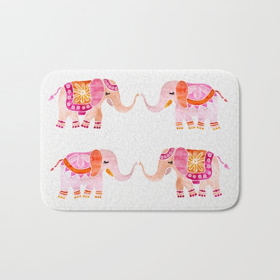HAPPY ELEPHANTS - WATERCOLOR Bath Mat