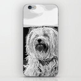 hairy havanese dog vector art black white iPhone Skin