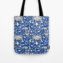 Chinoiserie Vines in White + Navy Blue Tote Bag
