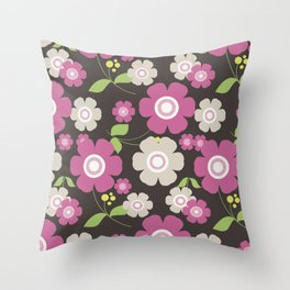 Flower graphic art: Royal gray and pink Throw Pillow