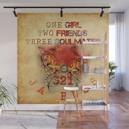 321 - One Girl, Two Friends, Three Soulmates with dragons (square) Wall Mural