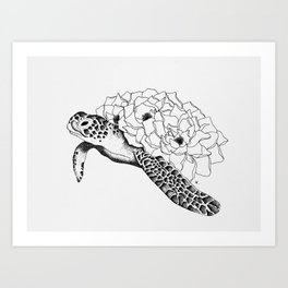 Pen and Ink Floral Sea Turtle Art Print