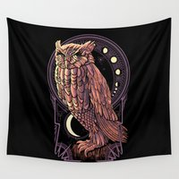 nouveau Wall Tapestries featuring Owl Nouveau by Jorge Garza
