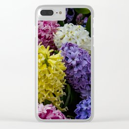Colorful Hyacinth Blossoms Growing Together in a Garden in Amsterdam, Netherlands Clear iPhone Case