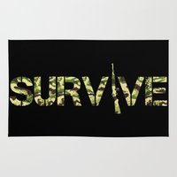 army Area & Throw Rugs featuring Survive (Army) by eARTh