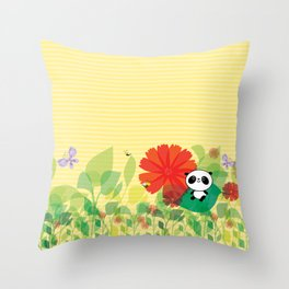 panda and flowers Throw Pillow