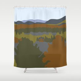 Graphic Fall Mountain Landscape with House Shower Curtain