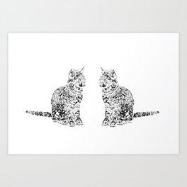 Abstract cats Art Print