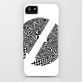 Circular Face, Black/White Abstract (ink drawing) iPhone Case