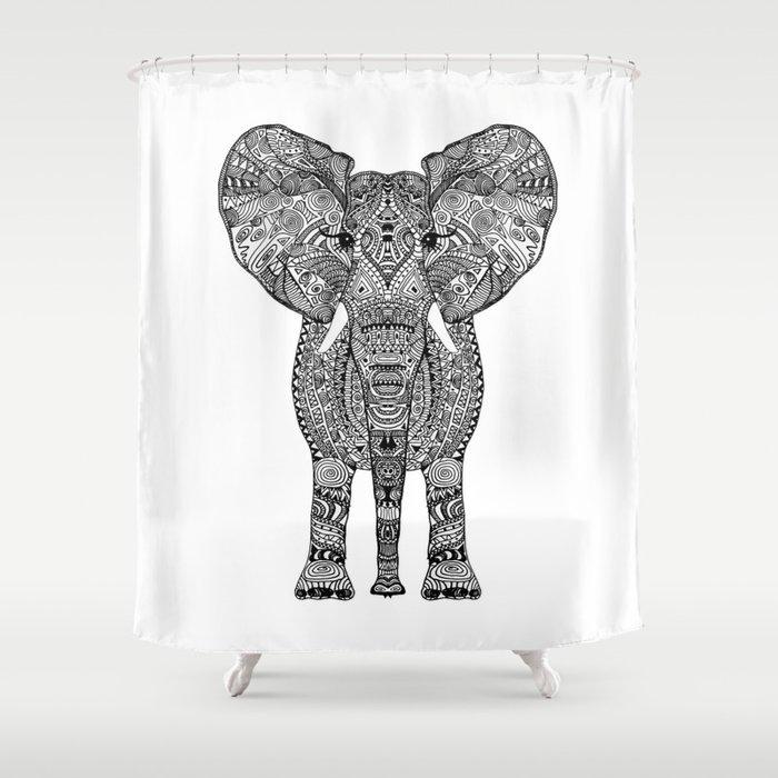 BLACK ELEPHANT Shower Curtain