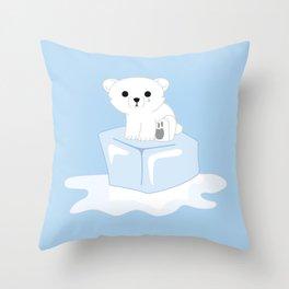 Sitting on Thin Ice Throw Pillow
