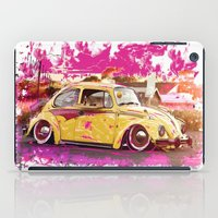 volkswagon iPad Cases featuring yellowinpink beetle bug by Vector Art