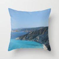 greece Throw Pillows featuring Greece by Melia Metikos