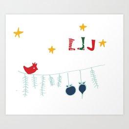 Holiday bird white Art Print