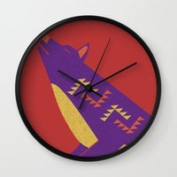 coyote Wall Clocks featuring Coyote by Claire Lordon