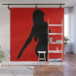 Freedom - Black on Red Wall Mural