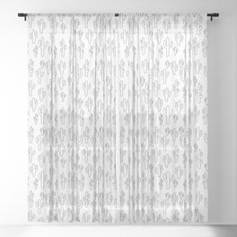 Cactus in White Palette Sheer Curtain