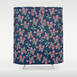 Roses on blue Shower Curtain