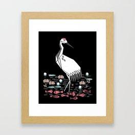 Crane bird art printmaking screenprint giclee by andrea lauren Framed Art Print