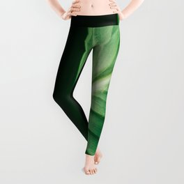 Close Up Of Green Tropical Textured Leaf Leggings