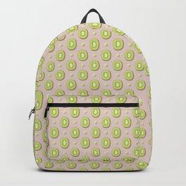 Brown & Green Kiwi Slices Pattern Backpack