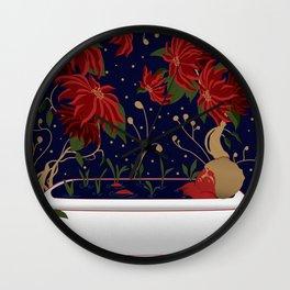 Wonder bath // winter flower pattern Wall Clock