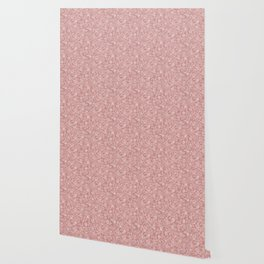 Mauve - Dusty Rose - Antique Floral Design Wallpaper