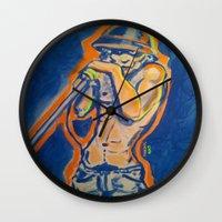 iggy Wall Clocks featuring IGGY POP  by Punkboy Marti