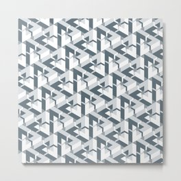 Triangle Optical Illusion Gray Dark Metal Print