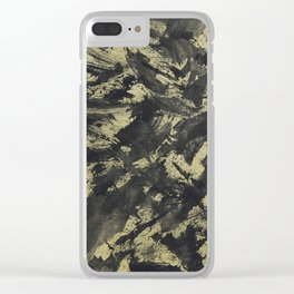 Black Ink on Gold Background Clear iPhone Case