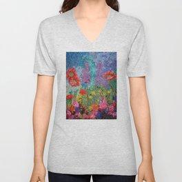 Poppy Garden by StitchyTreasures Unisex V-Neck