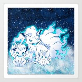 snow fox trio Art Print