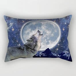 One Wolf Moon - Wildlife Art Rectangular Pillow