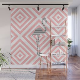 Flamingo - Abstract geometric pattern - pink and white. Wall Mural