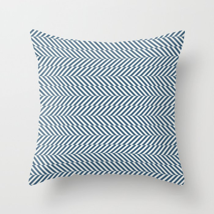 Hypnotic Blue & Off White Stripe Pattern Pairs to 2020 Color of the Year Chinese Porcelain Throw Pillow