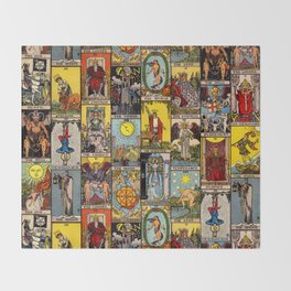 The Major Arcana Tarot Collage Throw Blanket