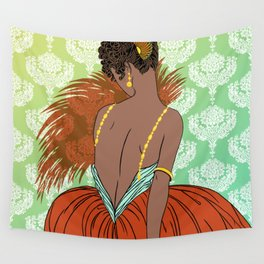 Art Deco Lady with Damask - BIANCA: Vintage Summer Wall Tapestry