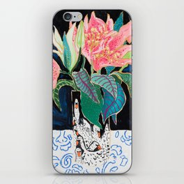 Swan Vase with Pink Lily Flower Bouquet on Dark Blue and Black Winter Floral iPhone Skin