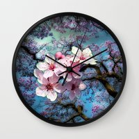 cherry blossoms Wall Clocks featuring Cherry Blossoms by Just Kidding