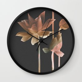 Night Copper Rose Gold Lilly Feng Shui Floral Wall Clock