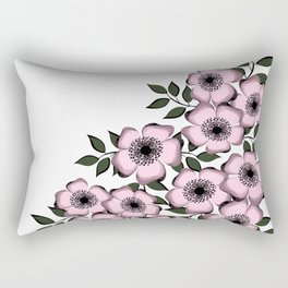 Pink flowers on a white background. Rectangular Pillow
