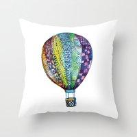 hot air balloon Throw Pillows featuring Hot Air Balloon by Emily Stalley