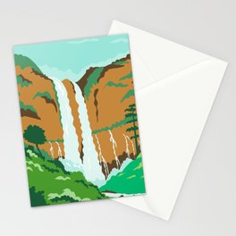 Maria Cristina Falls or Twin Falls Waterfall in Agus River Iligan City Philippines WPA Poster Art Color Stationery Cards