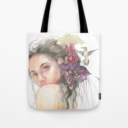 Woman Nymph Portrait with Hummingbird Tote Bag