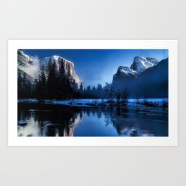 El Capitan Yellowstone Winter Landscape Art Print