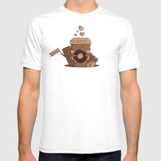Caffeinated Love White Mens Fitted Tee SMALL