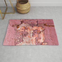 Vintage Cracked Wall Paint in Smoky Rose Pink Hues Rug